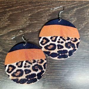 Leopard Color Block Dangle Wood Earrings NWT
